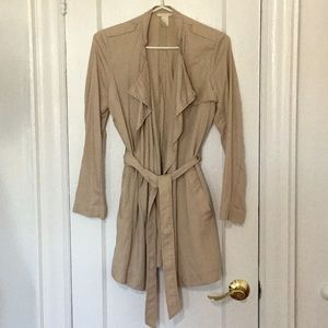 H&M Light Trench Coat with self tie and pockets